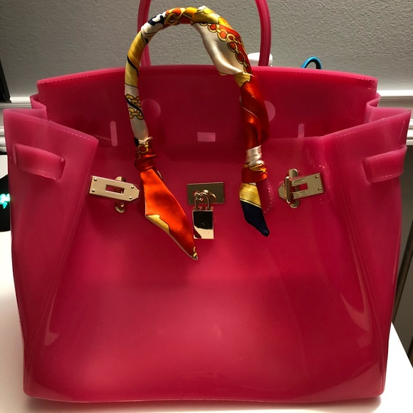 dda3adee1a Handbags - Pink Jelly Birkin beach bag